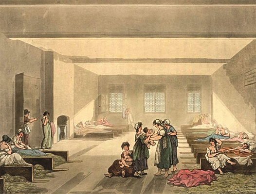 The Pass Room at Bridewell from Ackermann's Microcosm of London (1808-11) where Mary was first imprisoned. Drawing by Thomas Rowlandson and Augustus Pugin. References: Women o of History and Wikipedia. w.400