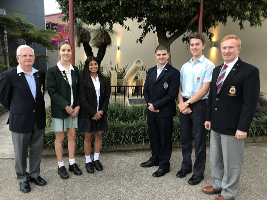 2018 Hills Anzac Ambassadors: Cali Doyle, Anna Antonito, Michael Dell'Aquila and Jesse Krauksts-Garofano with Retired Colonel Don Tait (pictured left) and Brigadier Phillip Bridie, president of the Castle Hill RSL sub-branch.